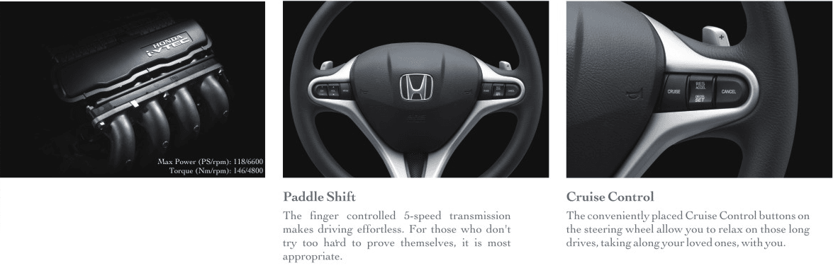 Engine, Paddle Shift and Cruise Control of New Honda City 2012