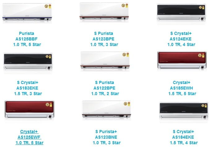 Samsung Split Air Conditioner Models Collection 3