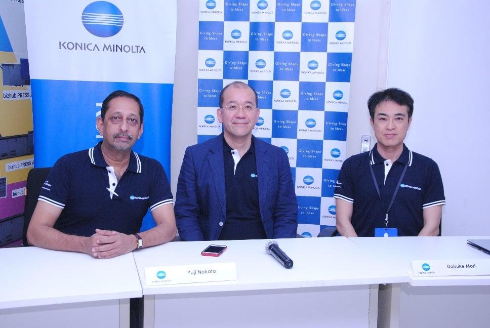 Mr. Yuji Nakata, MD, Konica Minolta India_Mr. V. Balakrishnan, Executive General Manager (EGM), Konica Minolta India_Mr. Daisoke Mori, Asia Pacific Business Manager, Konica Minolta Japan.