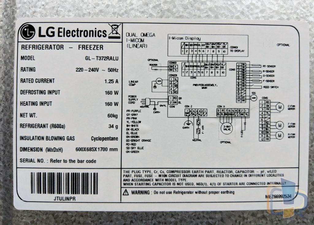 LG Inverter Linear Refrigerator Specs