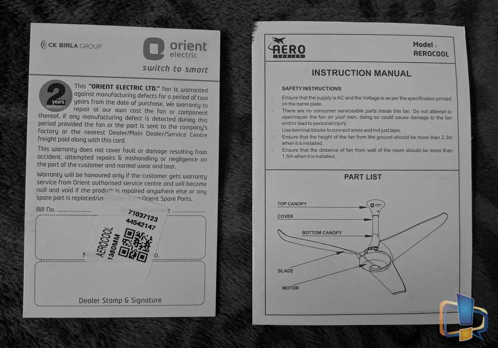 From Left: Warranty Card and Instruction Manual