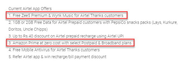 Airtel Thanks App Benefits