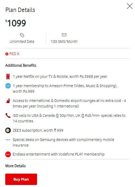Vodafone RedX plan